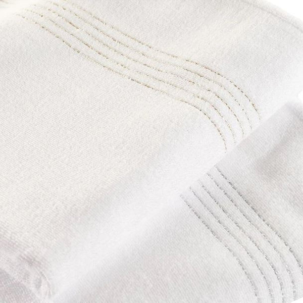 Joia White and Metalic Bath Towels by Abyss & Habidecor | Fig Linens and Home