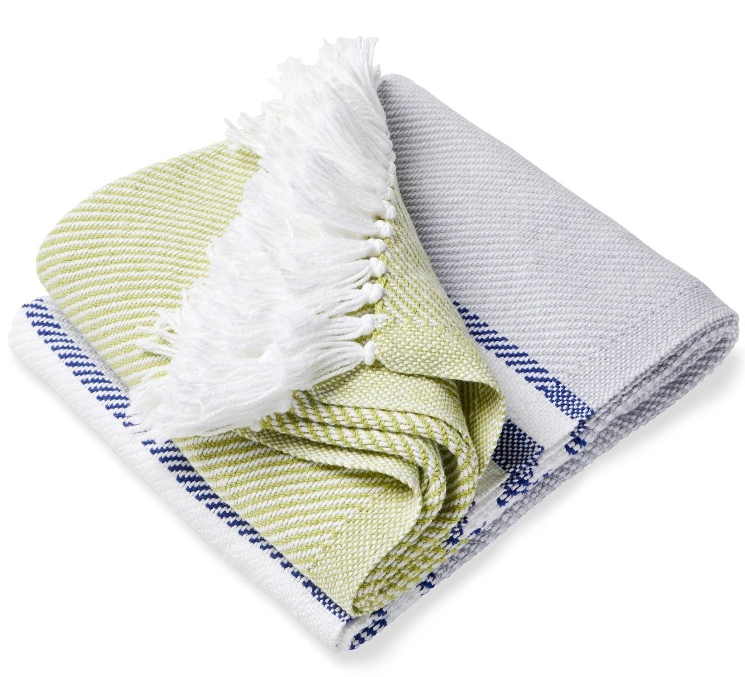 Allagash Dove Gray, Navy & Green Throw by Brahms Mount
