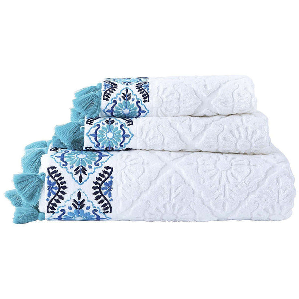 John Robshaw Aloka Teal Bath Towels (Set of 2) | Fig Linens