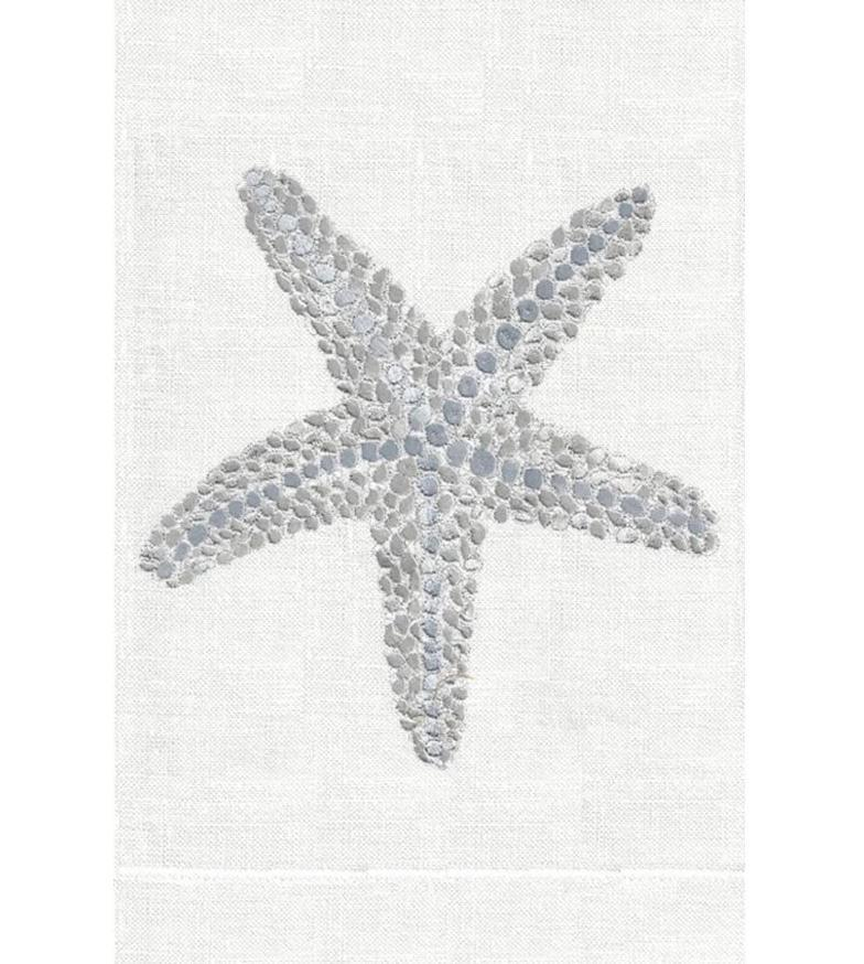 Silver Starfish Linen Hand Towels (Set of 2) | Fig Linens and Home