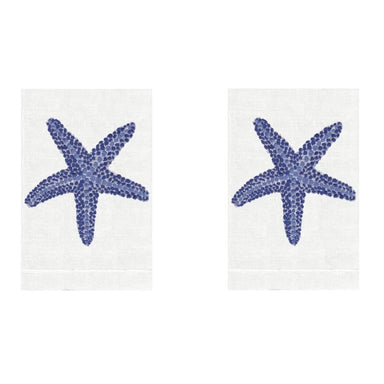 Blue Starfish Linen Guest Towels (Set of 2) | Fig Linens and Home