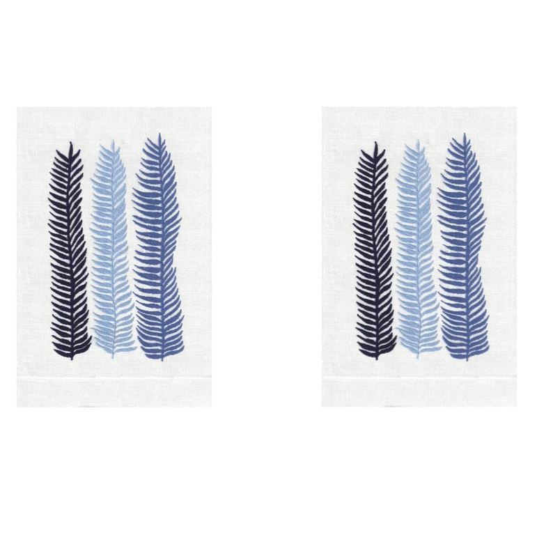 Cobalt Kelp Linen Guest Towels (Set of 2) | Fig Linens and Home