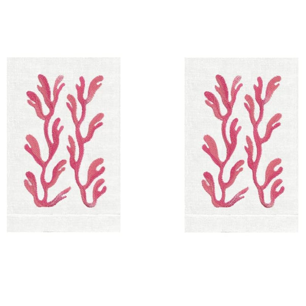 Coral Linen Guest Towels (Set of 2) | Fig Linens and Home