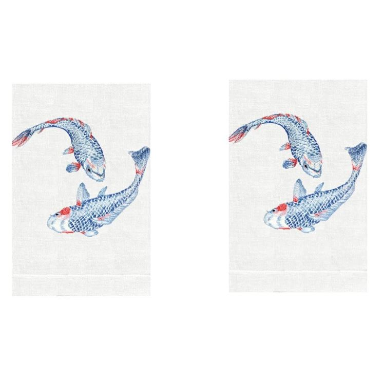 Koi Fish Linen Guest Towels (Set of 2) | Fig Linens and Home