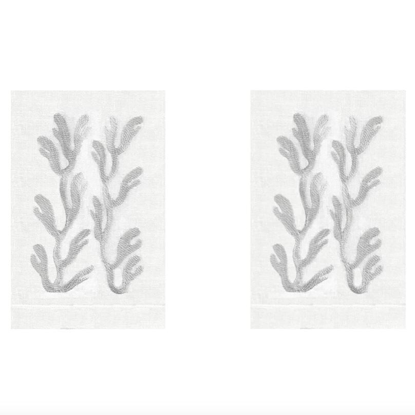 Silver Coral Linen Guest Towels (Set of 2) | Fig Linens and Home