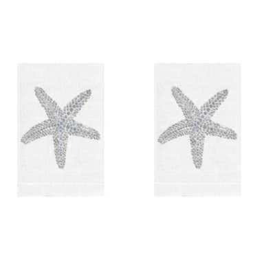 Silver Starfish Linen Guest Towels (Set of 2) | Fig Linens and Home