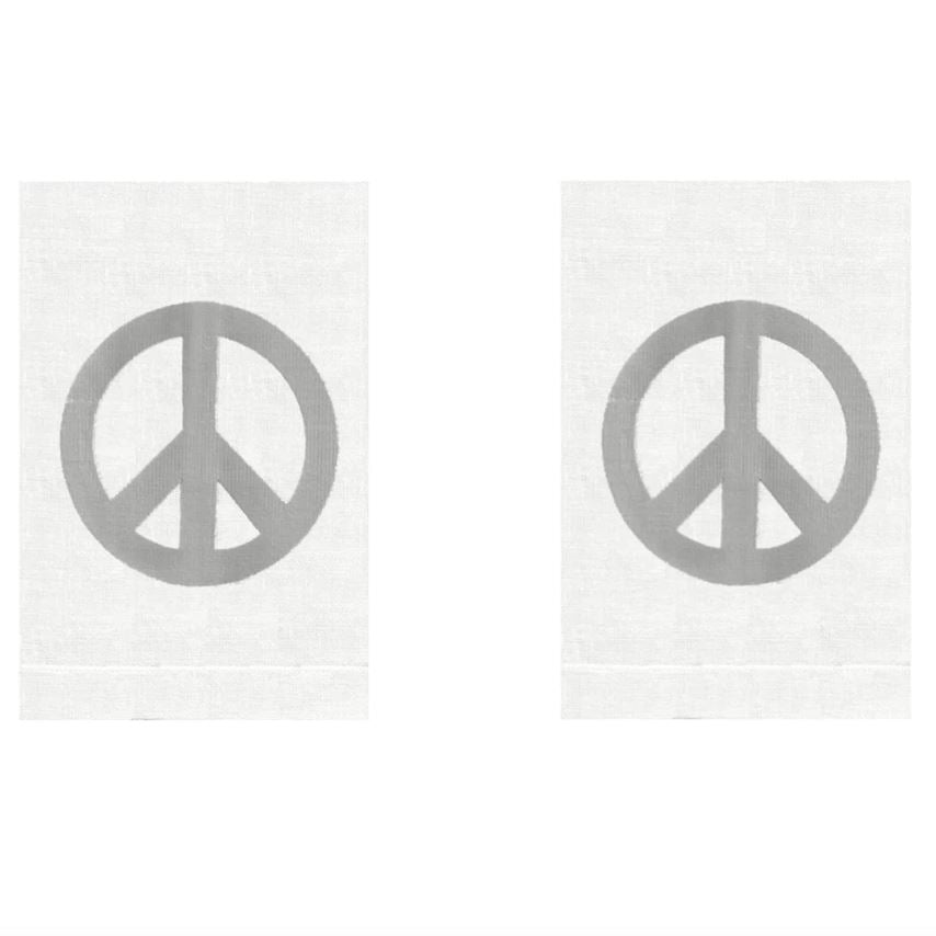 Silver Peace Sign Linen Guest Towels (Set of 2) | Fig Linens