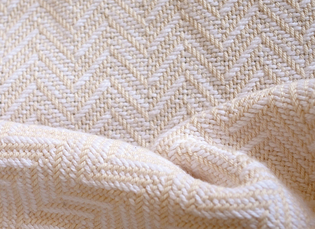 White and Natural Madison Chevron Cotton Blanket by Brahms Mount | Fig Linens