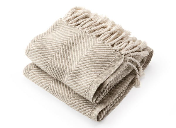 Monhegan Oyster & Stone Herringbone Throw | Fig Linens and Home
