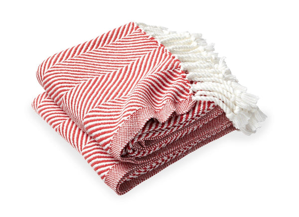 Monhegan Breton Red Herringbone Throw by Brahms Mount | Fig Linens