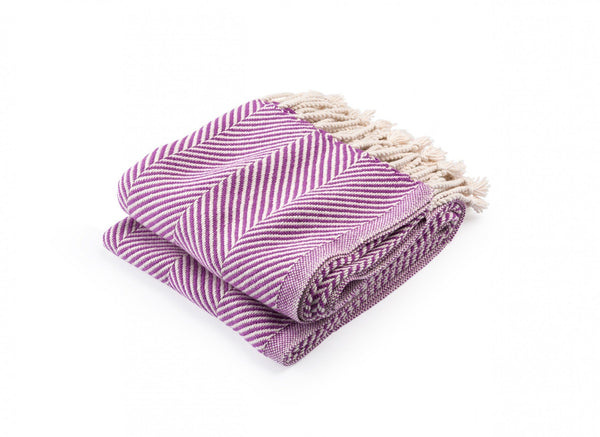 Monhegan Violet Herringbone Throw by Brahms Mount | Fig Linens
