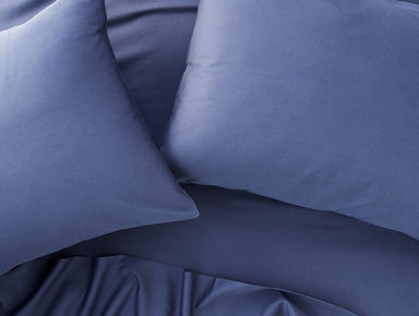 Fig Linens - Coyuchi Bedding - 300 TC Organic Sateen Moonlight Blue Bedding