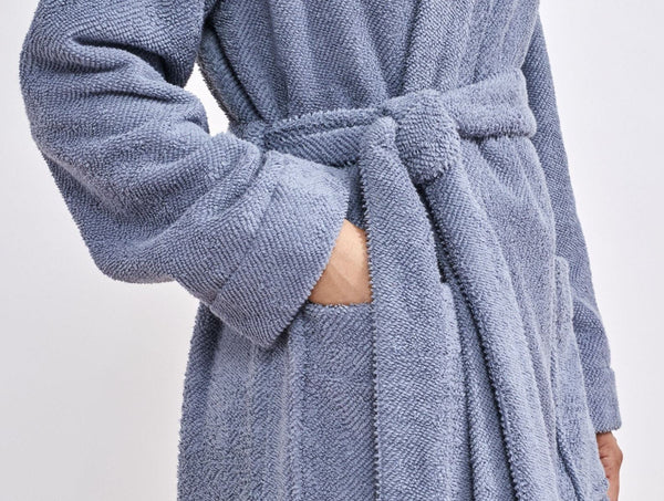 French Blue Air Weight Unisex Organic Robe with pockets and Belt by Coyuchi | Fig Linens