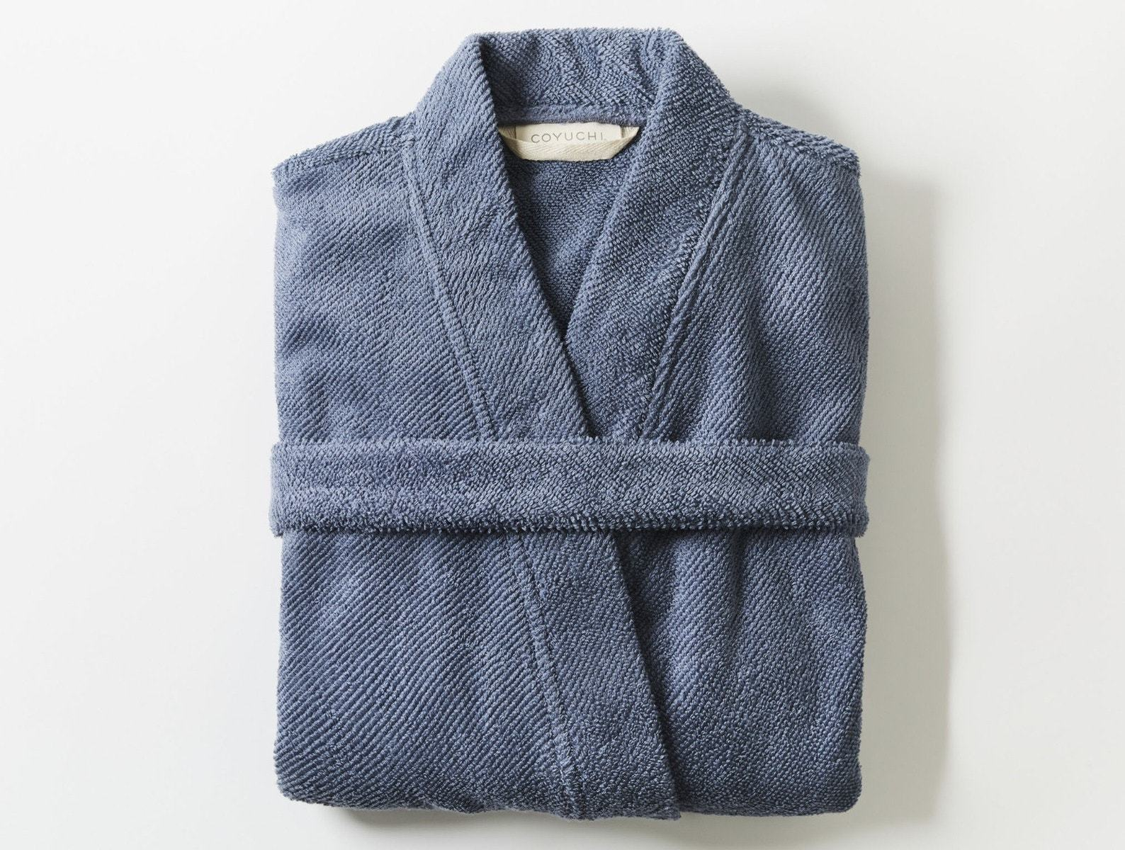 French Blue Air Weight Unisex Organic Robe by Coyuchi