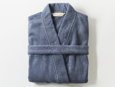 French Blue Air Weight Unisex Organic Robe by Coyuchi | Fig Linens
