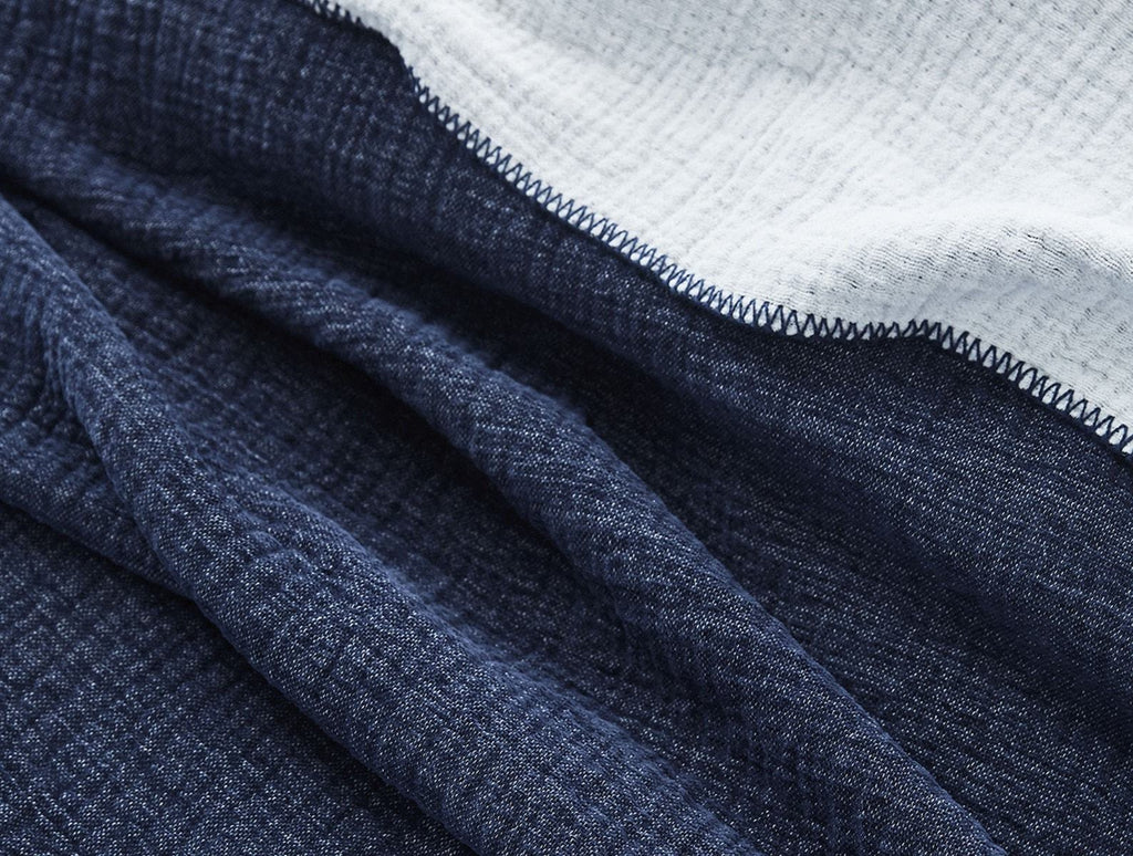 Fig Linens - Coyuchi Cozy Cotton Organic Blanket in Dark Blue Blue