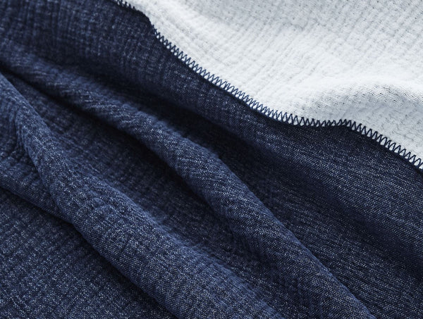 Dark Blue Cozy Cotton Organic Blanket by Coyuchi | Fig Linens