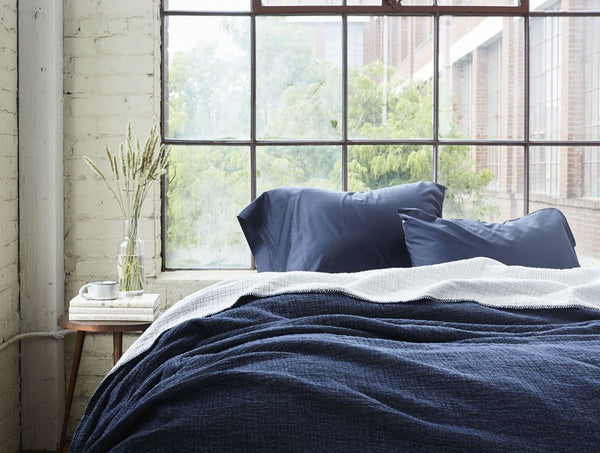 Moonlight Blue Cozy Cotton Organic Blanket by Coyuchi | Fig Linens