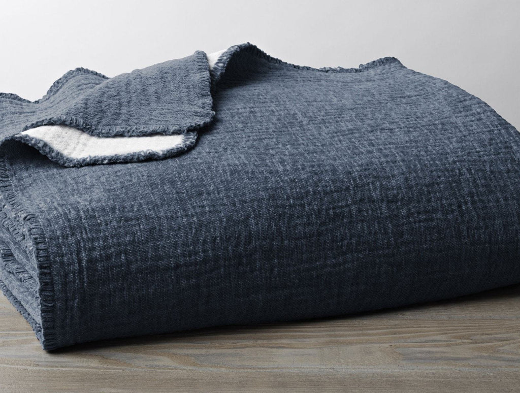Fig Linens - Coyuchi Cozy Cotton Organic Blanket in Moonlight Blue