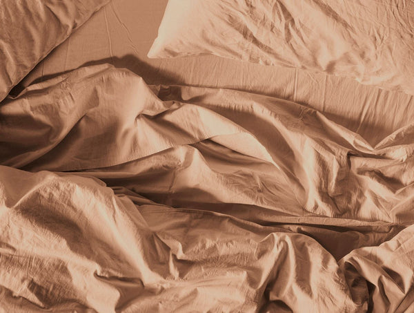 Ginger Organic Crinkled Percale Sheets and pillow cases by Coyuchi | Fig Linens