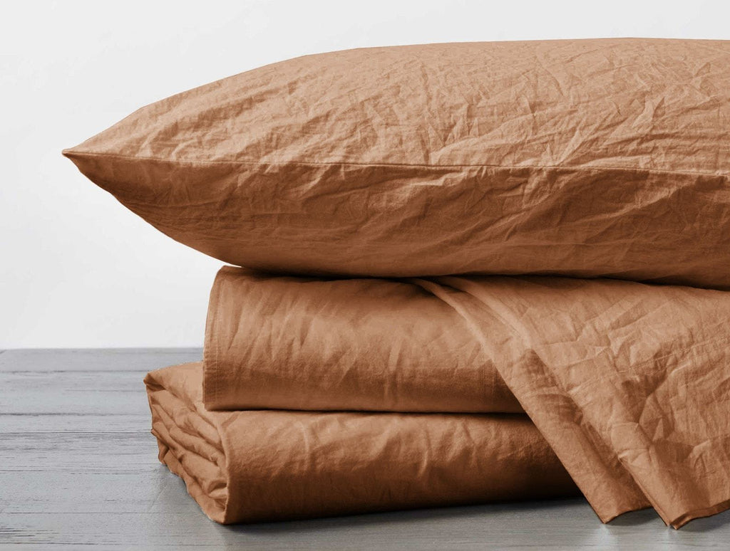 Ginger Organic Crinkled Percale Sheet Sets by Coyuchi | Fig Linens