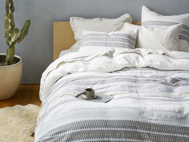 Lost Coast White & Graphite Organic Bedding by Coyuchi | Fig Linens