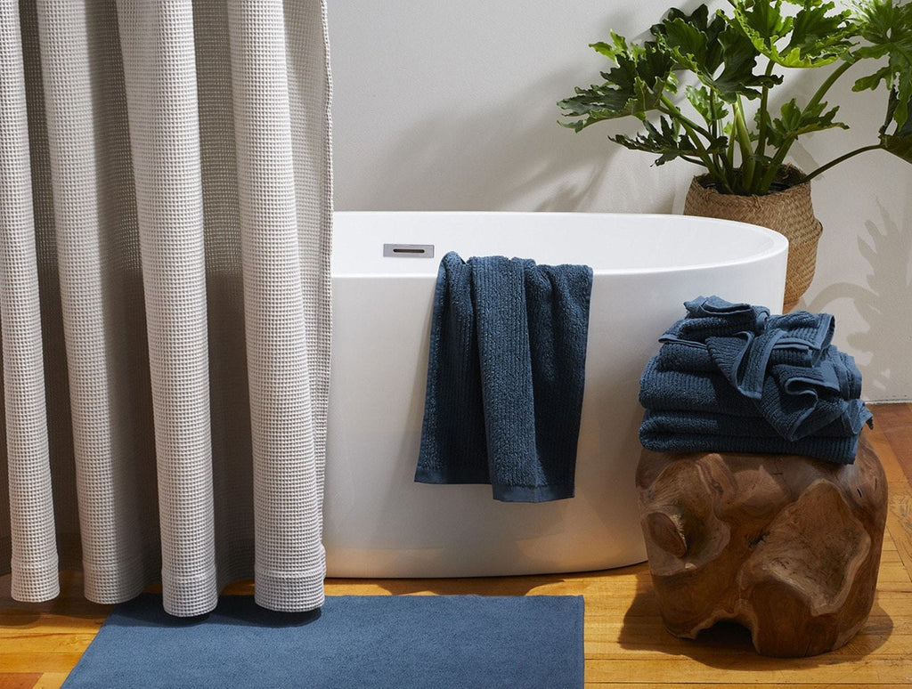 Fig Linens - Coyuchi Organic Bath Towels - Temescal Deep Ocean Towels and Bath Mat