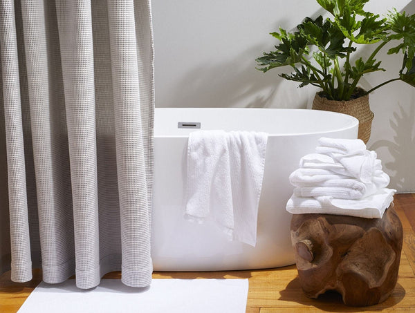 Fig Linens - Coyuchi Organic Bath Towels - Alpine White Towels and Bath Mat