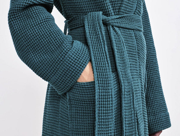 Deep Ocean Women's Organic Waffle Robes by Coyuchi | Fig Linens