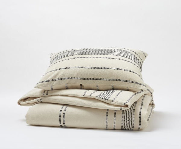 Ivory Duvets and Shams - Rippled Stripe Organic Bedding by Coyuchi | Fig Linens