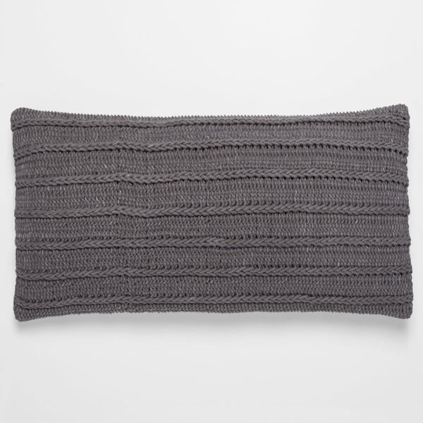 Braided Rope Slate Organic Throw Pillow by Coyuchi | Fig Linens