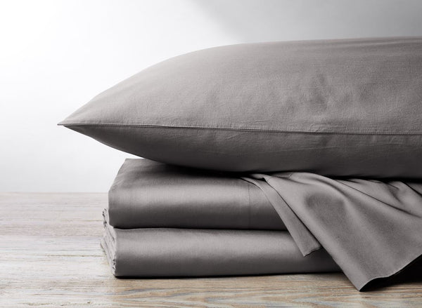 300 TC Organic Sateen Mid Gray Bedding by Coyuchi - Fig Linens
