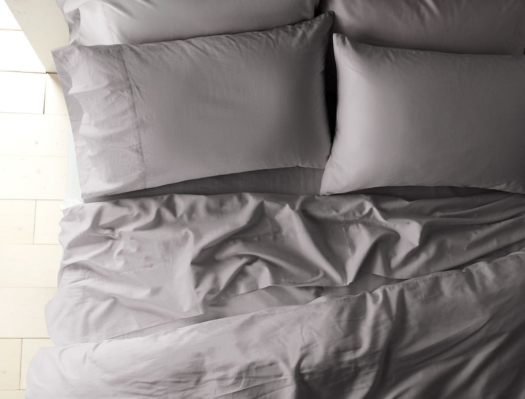 300 thread count organic sateen mid gray duvets and shams - Fig Linens