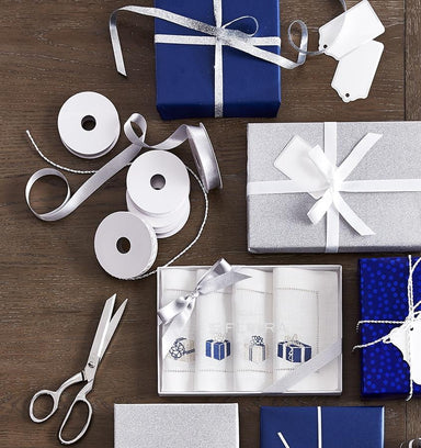 Blue & Silver Holiday Themed Napkins by Sferra | Fig Linens