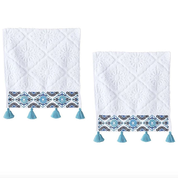 John Robshaw Aloka Teal Hand Towels (Set of 2) | Fig Linens