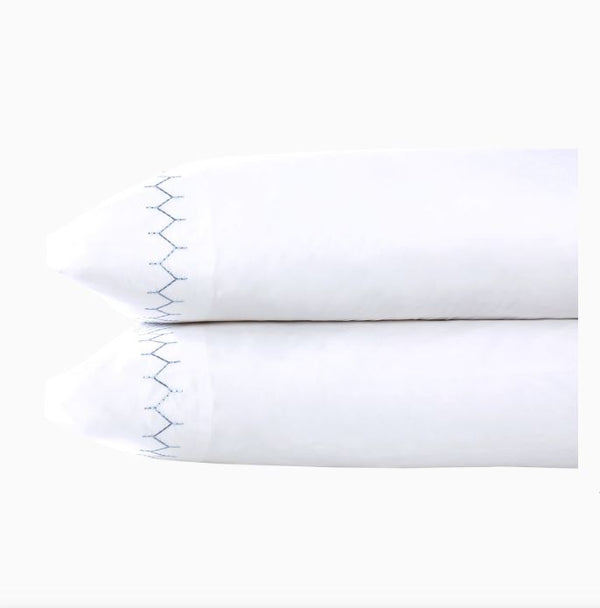 fig linens - john robshaw bedding - light indigo stitched pillowcases