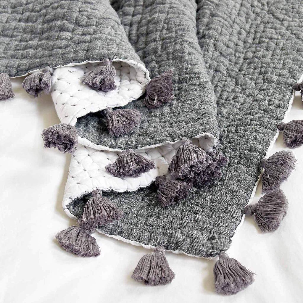 Sahati Charcoal Throw with pom poms by John Robshaw - Fig Linens