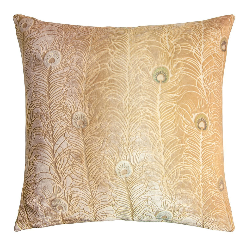 Fig Linens - Gold Beige Peacock Feather Decorative Pillow by Kevin O'Brien Studio