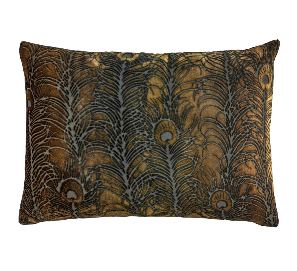 Fig Linens - Copper Ivy Peacock Feather Pillow by Kevin O'Brien Studio