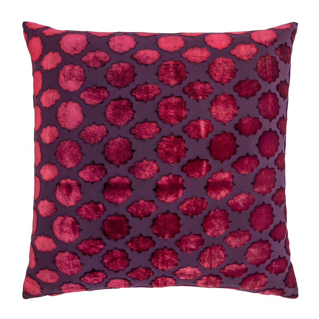 Fig Linens - Mod Fretwork Raspberry Velvet Pillows by Kevin O'Brien Studio