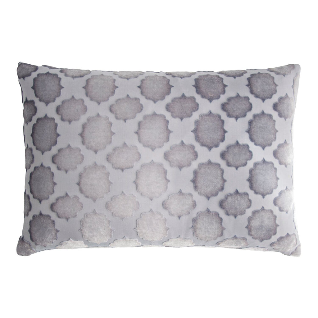 Fig Linen - Mod Fretwork Silver Gray Velvet Pillows by Kevin O'Brien Studio