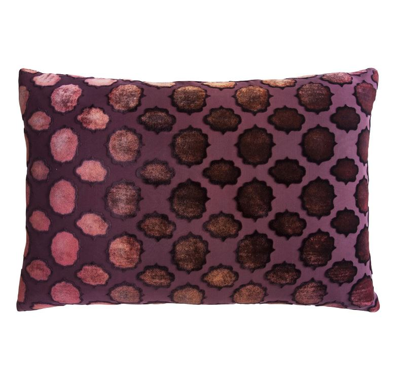 Fig Linens - Mod Fretwork Wildberry Velvet Pillows by Kevin O'Brien Studio