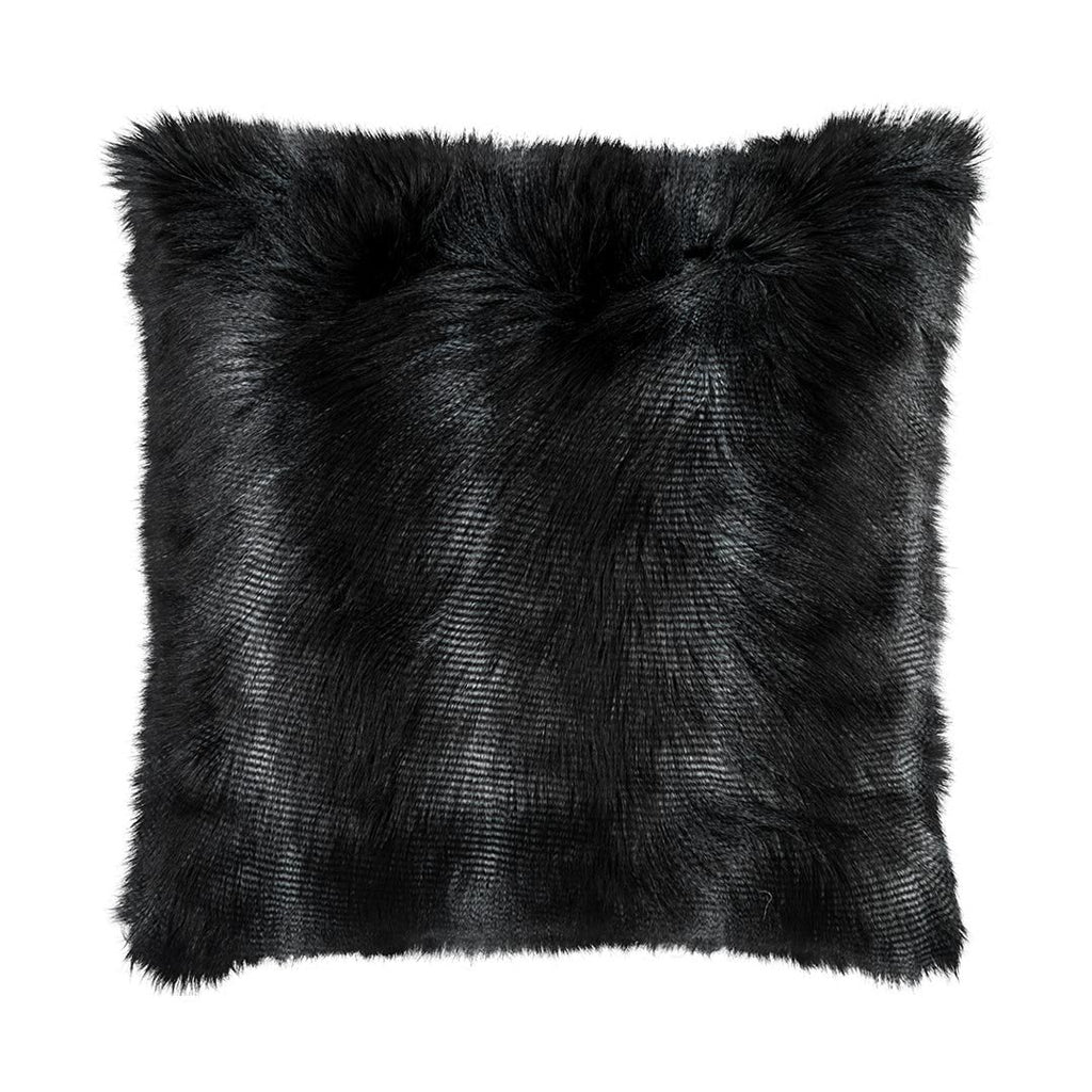 Large Black Faux Fur Euro Pillow by Lili Alessandra | Fig Linens and Home