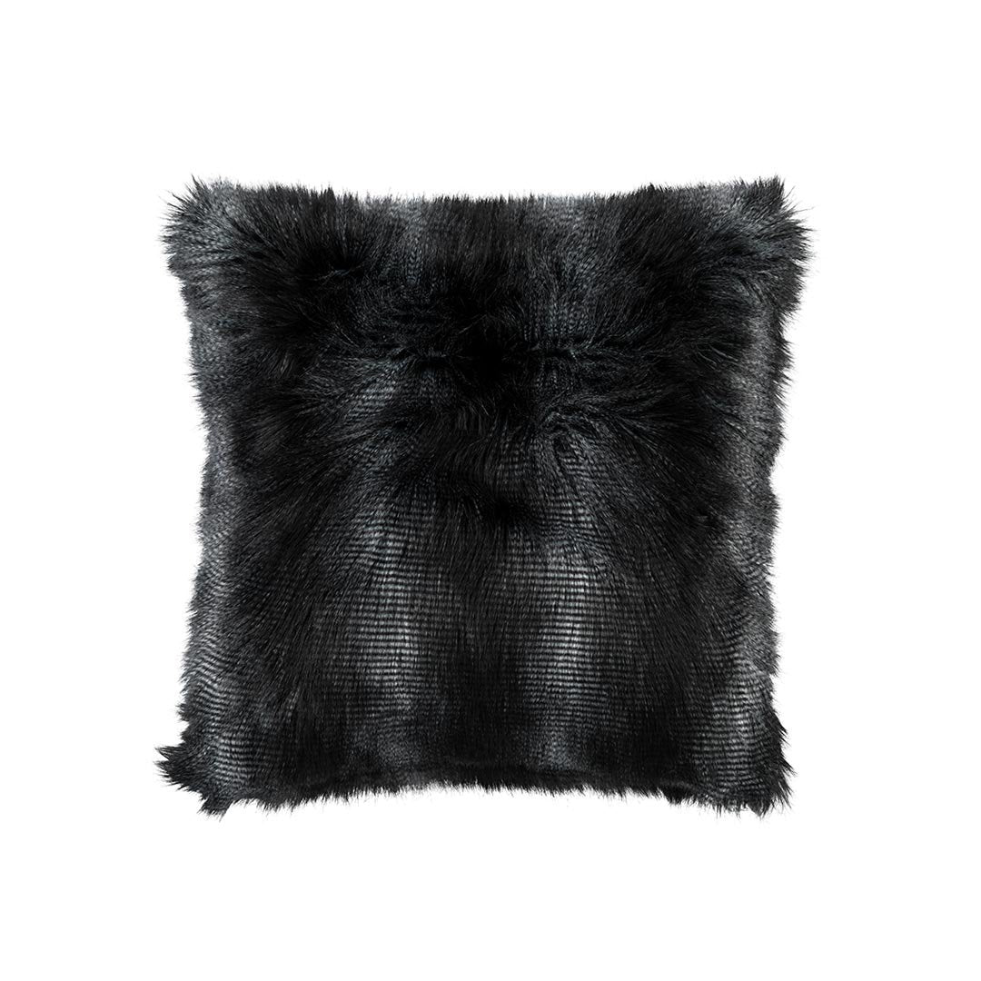 Black Faux Fur Euro Pillow by Lili Alessandra