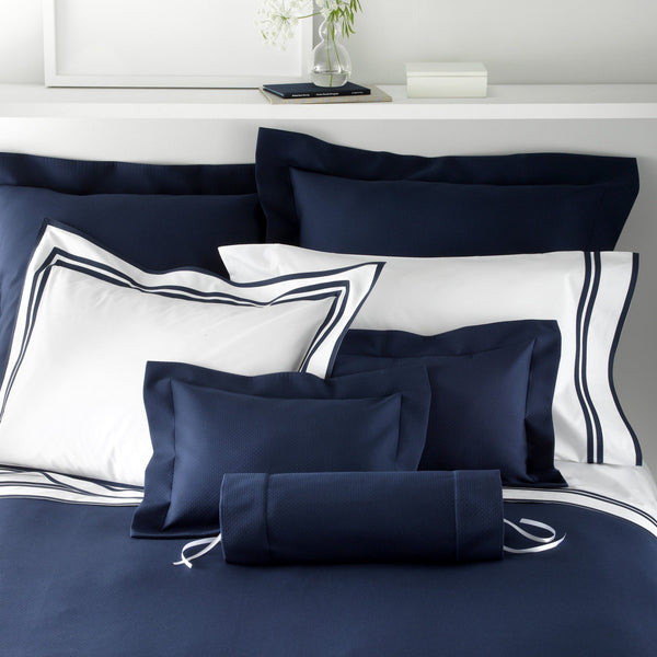 Elliot Pique Navy Bedding by Matouk - Fig Linens