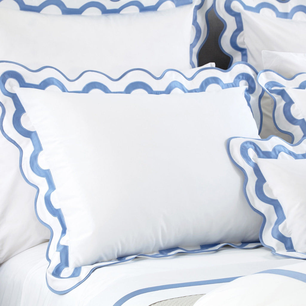 fig linens - matouk bedding - mirasol azure sheets and shams