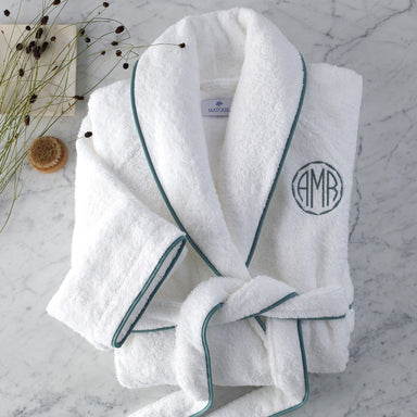 Fig Linens - Matouk - White Cairo Robe with Sea Piping