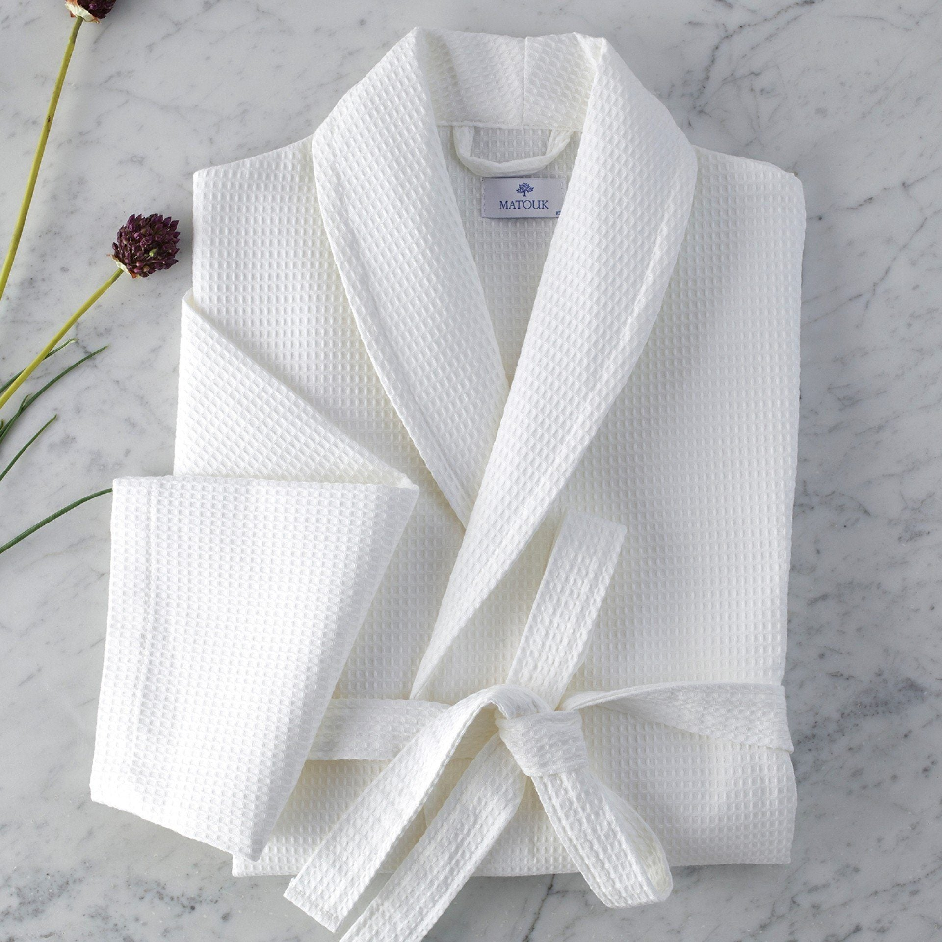 White Waffle Weave Robe by Matouk | Fig Linens and Home