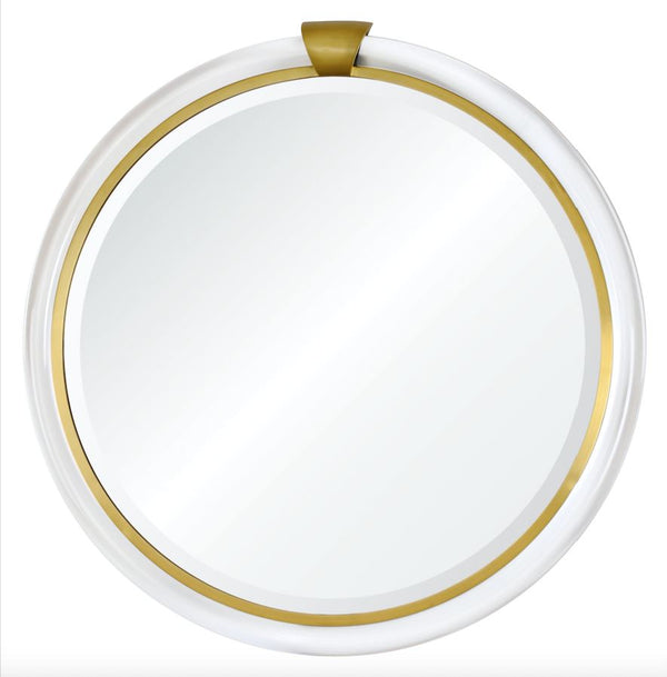 Acrylic & Brass Round Wall Mirror by Mirror Image Home | Fig Linens