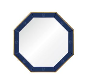 Mirror Image Home - Octavia Blue & Brass Mirror by Bunny Williams | Fig Linens